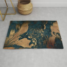Emerald Indigo And Copper Glamour Marble Rug