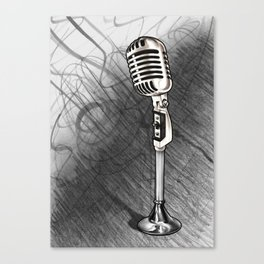 Vintage microphone + Shaded background Canvas Print
