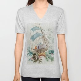 Chinoiserie Embroidery Unisex V-Neck