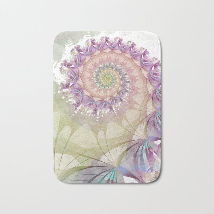 Watercolor Fibonacci Spiral Bath Mat