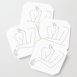 Minimal line drawing of woman's folded arms - Anna Coaster