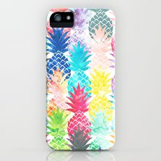 Hawaiian Pineapple Pattern Tropical Watercolor iPhone SE Slim Case