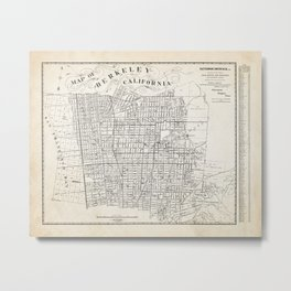 Berkeley California Map Metal Print
