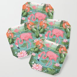 Flamingo and Waterlily Coaster