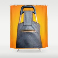 tiki Shower Curtains featuring Tiki Luggage by Del Gaizo