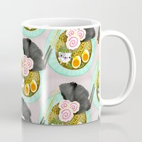 ramen Mugs featuring Ramen Cats Pattern by Cindy Suen