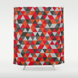 Hot Red and Grey / Gray -  Geometric Triangle Pattern Shower Curtain
