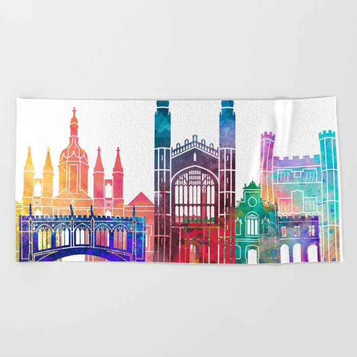 Cambridge landmarks watercolor poster Beach Towel