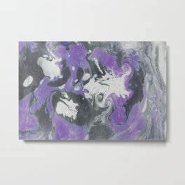 Marbled Ink - Purple Gray & White Metal Print
