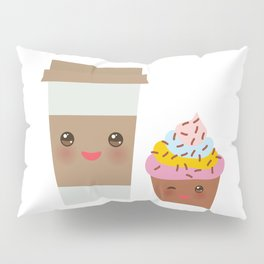 coffee in Paper thermo cup with brown cap and cup holder, chocolate cupcake. Kawaii Pillow Sham