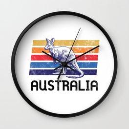 Australia Retro Vintage Flag Outback Kangaroo Mate Melbourne Open Map Animals Wall Clock