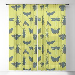 Bugs! dark green insects on vivid green background Sheer Curtain