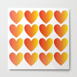 Love Hearts Red Through Yellow Ombre Metal Print