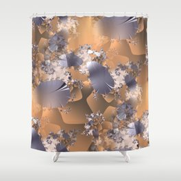 Platinum leaves and fractal vines on gold and copper background Shower Curtain