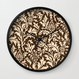 William Morris Thistle Damask, Taupe Tan and Beige Wall Clock