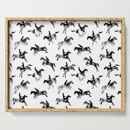 Watercolor Showjumping Horses (Black) Serving Tray