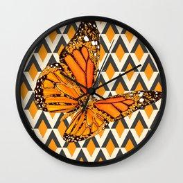 ORANGE FANTASY MONARCH BUTTERFLY ART DESIGN Wall Clock