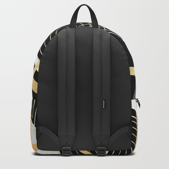 Original Gray and Gold Abstract Geometric Rucksack