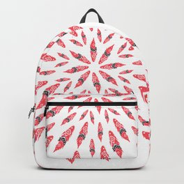 red tribal watercolor feather Backpack
