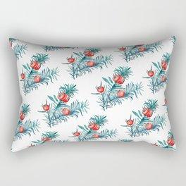 Watercolor Yew Berries Rectangular Pillow