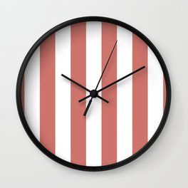 Camellia Pink and White Wide Vertical Cabana Stripes Wall Clock