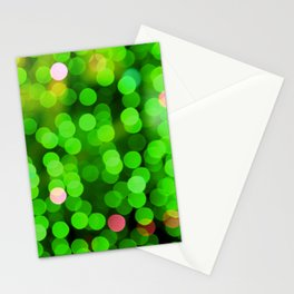 glowing confetti in green Stationery Cards