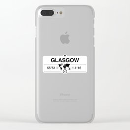 Glasgow Scotland GPS Coordinates Map Artwork with Compass Clear iPhone Case