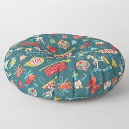 Teal Christmas Ornament Pattern Floor Pillow