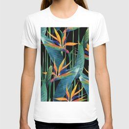 Watercolor Painting Tropical Bird of Paradise Plants large T-shirt