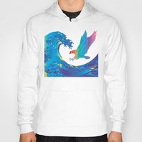 hokusai Hoodies featuring Hokusai Rainbow & Eagle by FACTORIE