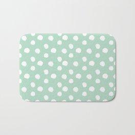 Brushy Dots Pattern - Mint  Bath Mat
