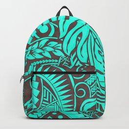 Teal Polynesian Tropical Leaf Design Backpack