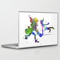 captain hook Laptop & iPad Skins featuring Peter Pan and Captain Hook in watercolor by Paulrommer