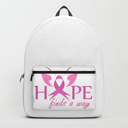 Hope finds a way- Pink ribbon with butterfly to symbolize breast cancer awareness Backpack