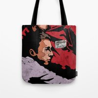 tyler durden Tote Bags featuring Hello I'm Bob/ fight club/ tyler durden by Bearded Bastard