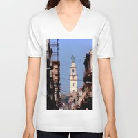 cuba V-neck T-shirts featuring Old Downtown Havana Cuba by Rafael Salazar