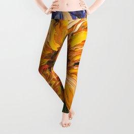 Fiery Sunflower - Original Painting Leggings