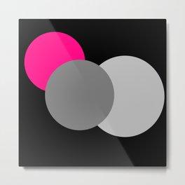 Pink Gray Black : Mod Circles Metal Print