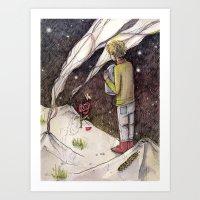 """le petit prince Art Prints featuring Le Petit Prince """"Responsible"""" by Danielle Ceneta"""