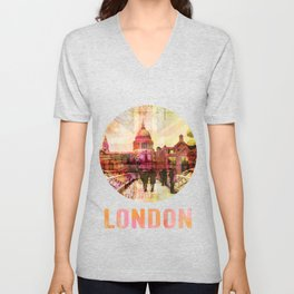 London St. Pauls Cathedral Modern Mixed Media Unisex V-Neck