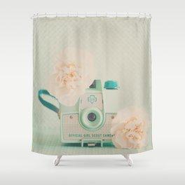 peach flowers & a mint green camera photograph Shower Curtain