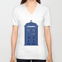 blueprint V-neck T-shirts featuring TARDIS Blueprint - Doctor Who by BeckiBoos