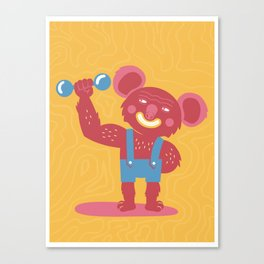 The Koala fighter trains with weights Canvas Print