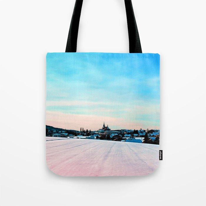 Village scenery in winter wonderland Tote Bag