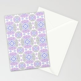 Delicate lace lilac and grey pattern . Stationery Cards