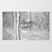 les miserables Area & Throw Rugs featuring Les Miserables Quote Winter by KimberosePhotography