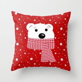 Muzzle of a polar bear on a red background. Throw Pillow