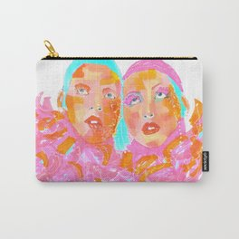 Pink Ladies blue hair pink boa gemini twins Carry-All Pouch