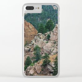 Colorado Rocky Mountains with tree's and sky. Clear iPhone Case