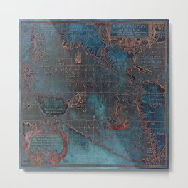 Antique Map Teal Blue and Copper Metal Print